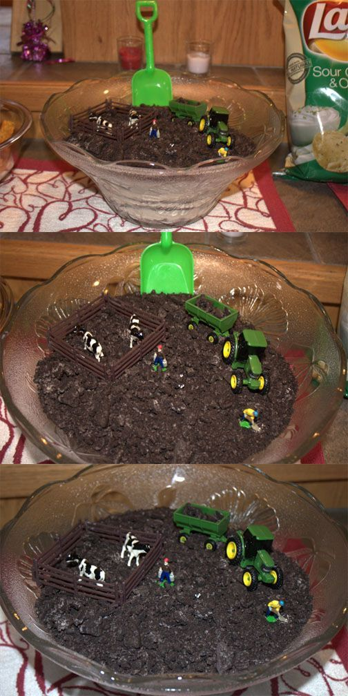 John Deere dirt cake I made for Addisyns 1st birthday party.: