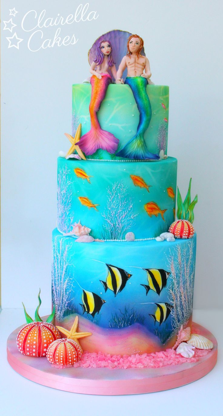 Mermaid Wedding Cake By Claire Anderson........For more info, Please visit: https://cakerschool.com/