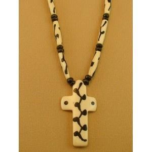 Colgante cruz blanca y negra