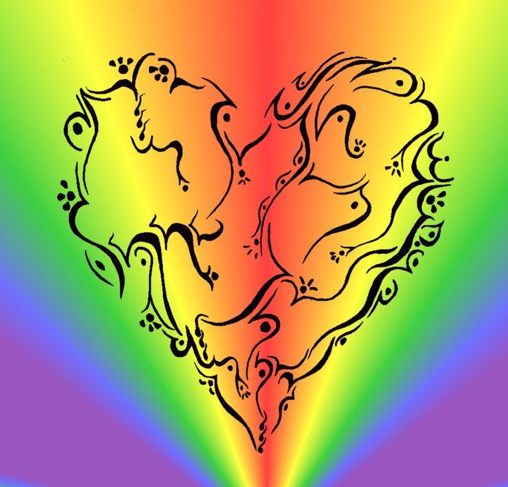 Scroll Hearted with rainbow burst 2