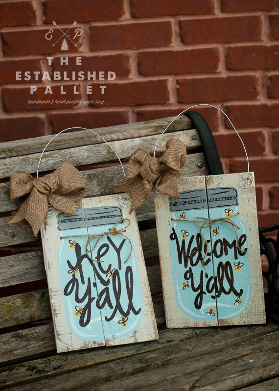 Mason Jar Pallet sign by TheEstablishedPallet on Etsy