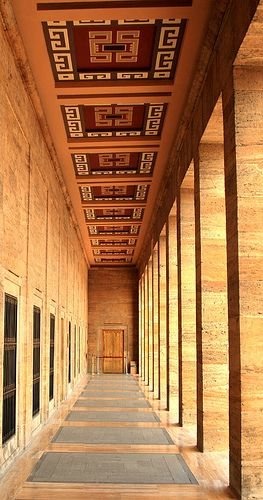Side passageway in the Anit Kabir, the monumental mausoleum to Mustafa Kamel Ataturk in Ankara, Turkey