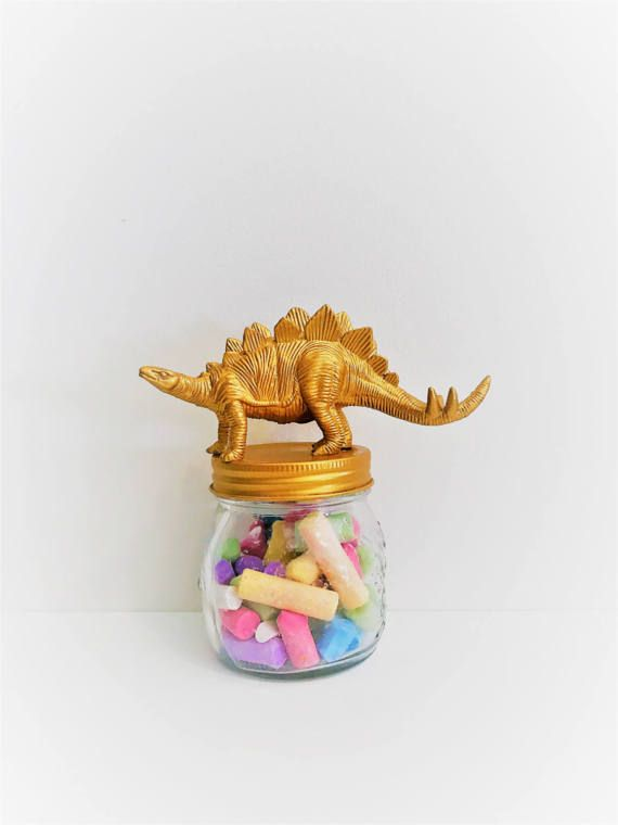 Gold Stegosaurus Mason Jar Topper // Home Storage Décor // Jar Storage // Dinosaur Mason Jar // Animal Jar Lid Decoration // Small Mason Jar