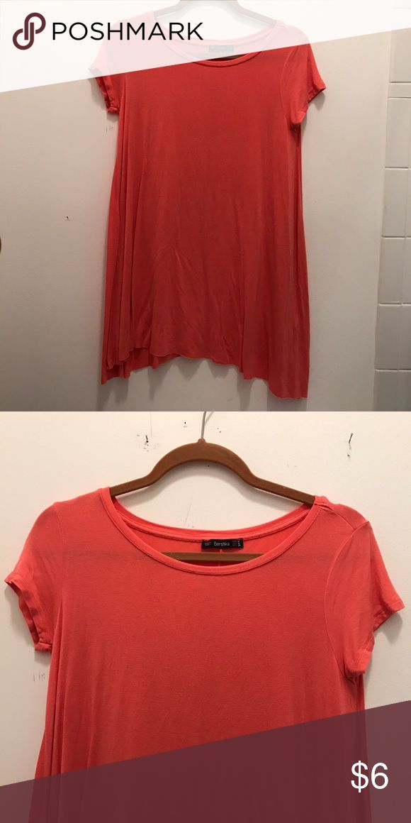 Coral T-Shirt Dress Runs very short, worn as a shirt instead due to length, soft and stretchy, EUC only worn once, purchased in Barcelona Bershka Dresses