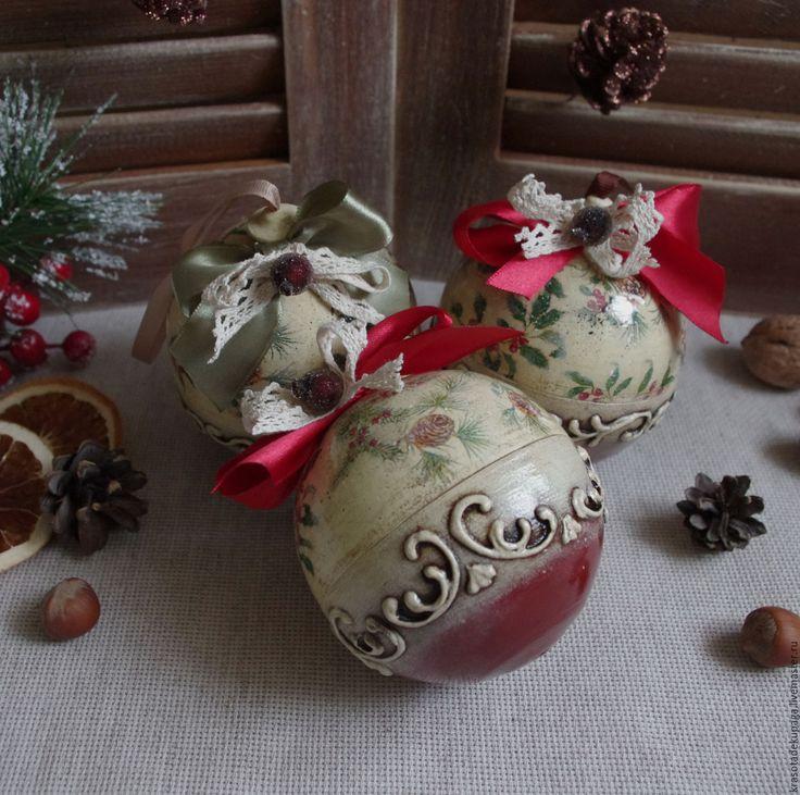 Купить Елочный шар, разъемный - комбинированный, новогодний подарок, елочные игрушки, елочные украшения