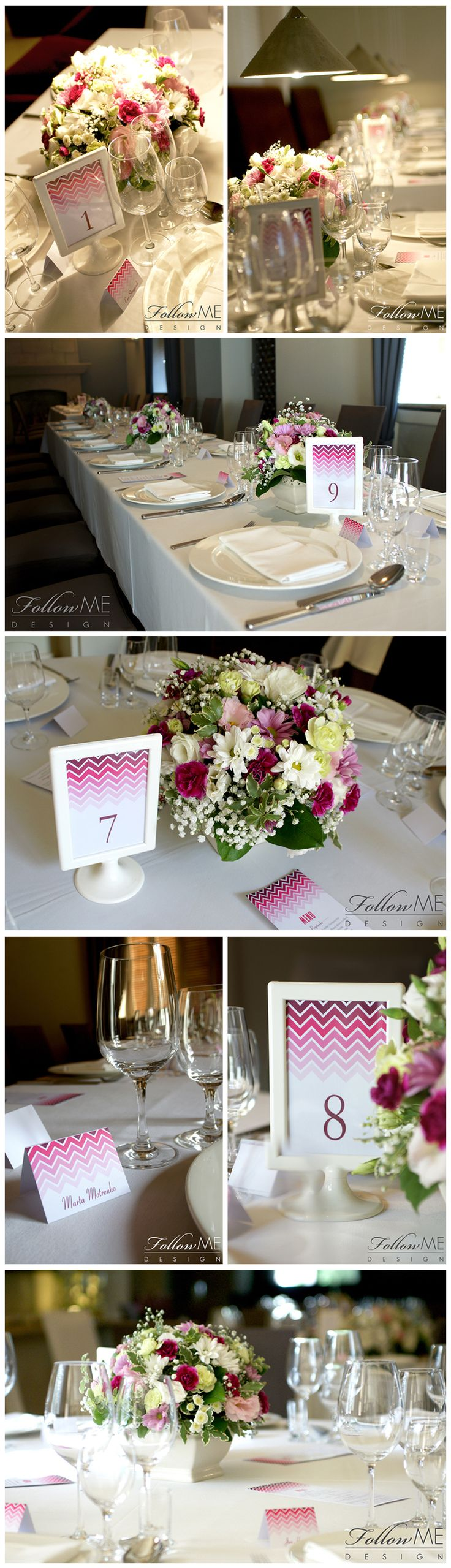 Dekoracje stołu / Karta menu / Winietki / Numery stołów / Różowe dekoracje ślubne od FollowMe DESIGN / Table Decorations / Menu Cards / Wedding Place Card / Table Number / Pink Wedding Decorations & Details by FollowMe DESIGN