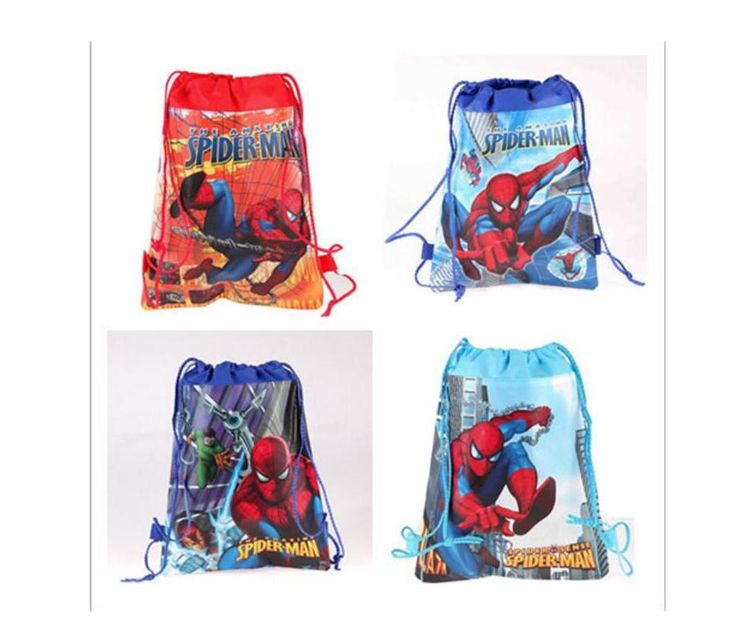 spiderman drawstring backpacks kids boys school bag party travel decoration mochila cartoon backpack children day's gifts CWX