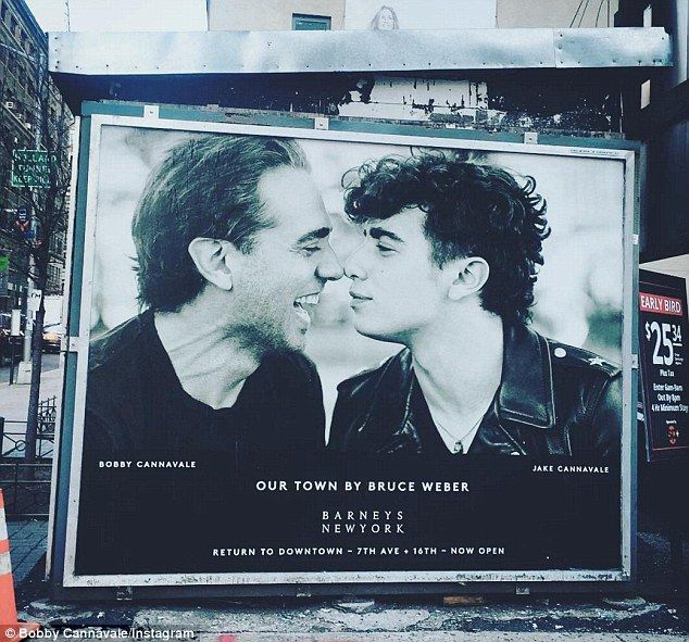 Doting dad: Last week, Bobby shared a snap of his Barneys New York billboard - shot by Bruce Weber - featuring his 20-year-old son Jake with ex-wife Jenny Lumet                                                                                                                                                                                 More