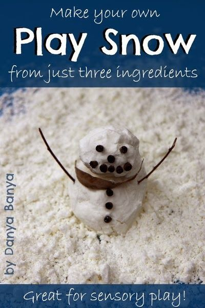 Make your own DIY Play Snow for kids from just three ingredients. Great for 'winter' sensory play (at any time of year). ~ Danya Banya