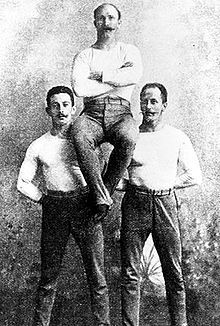 German gymnastics champions Schuhmann, Flatow and Weingartner from the 1896 Olympic games in Athens.
