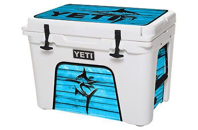 YETI Cooler Wrap Skin Decal 24mil for Tundra 110qt Marlin Wood Blue