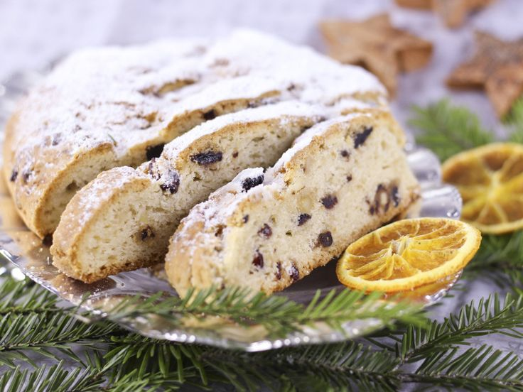 Dresdner Stollen is the famous fruitcake from Dresden that is sold throughout Germany during the Christmas season. Stollen is a rich yeast dough mixed with candied fruit and almonds.