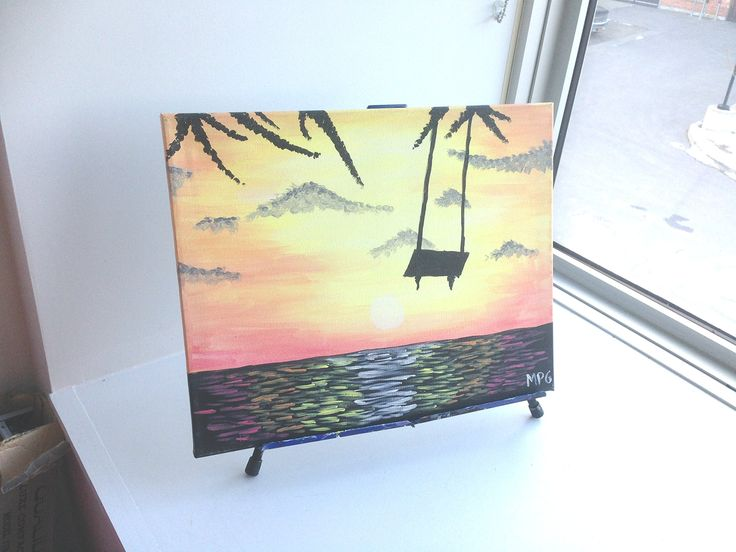 "Tree Swing Over Water at Sunset Painting. This painting is inspired by a painting that I taught in a painting class. The painting is done in acrylic paint on 16"" x 20"" canvas and is ready to hang right on your wall or be given as a gift. This makes a wonderful gift for anyone and any occasion. You can give as a housewarming present, or an engagement present for a special couple. Paintings make a unique and thoughtful gift for any birthday or occasion. The painting will be shipped within 1…"