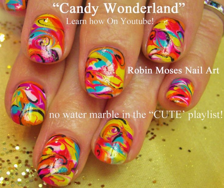 """Robin Moses Nail Art: """"summer nails"""" """"summer designs"""" """"nail art"""" """"nails"""" """"Neon nails"""" """"neon"""" """"bright nails"""" """"no water marbling"""" """"marbling nails"""" """"marble nails"""" diy how-to robin moses"""