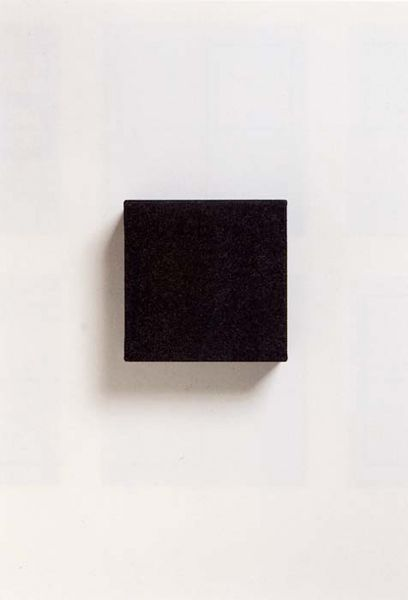 "Blinky Palermo (1943-1977) ""Schwarzer Kasten (Black Box)"", 1970. Casein paint on canvas on wood 6 x 6 x 2 inches 15.2 x 15.2 x 5.1 cm © Photo courtesy: Zwirner & Wirth / David Zwirner, New York"