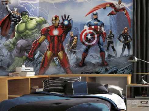 Avengers Assemble Mural 6' x 10.5' - Ultra-strippable Wall Mural at AllPosters.com
