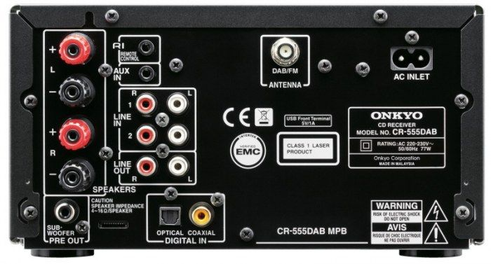 Onkyo CR555DAB Micro HiFi System Inputs/Outputs