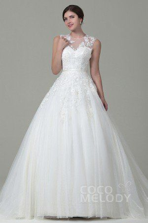 Queenly A-Line Illusion Natural Court Train Tulle Sleeveless Zipper Wedding Dress with Appliques #weddingdress #cocomelody