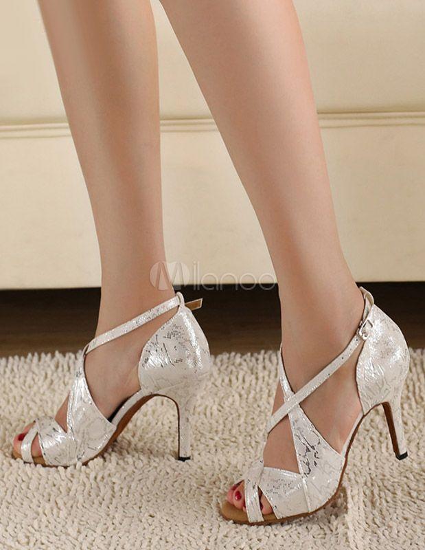 Zapatos de bailes latinos plateados con estampado - Tìm với Google