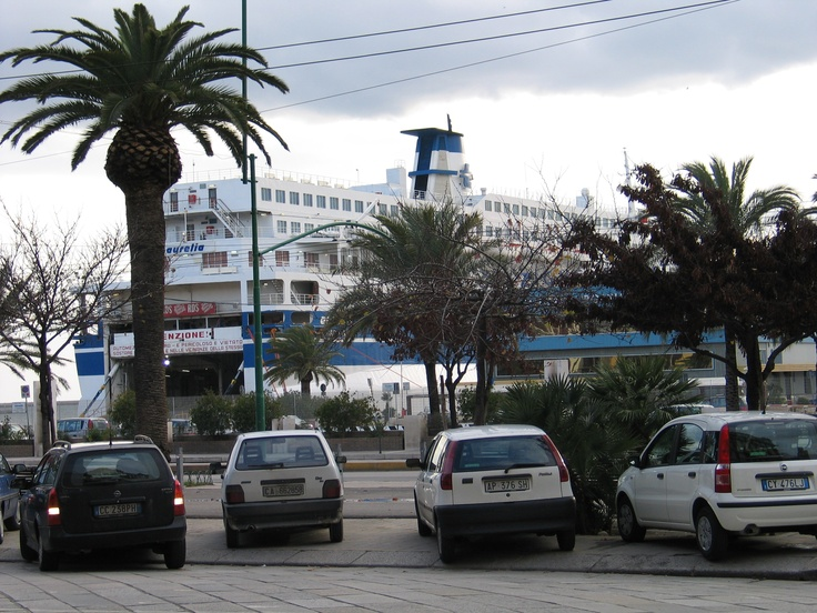 Ferry on port of Cagliari - view from Via Roma
