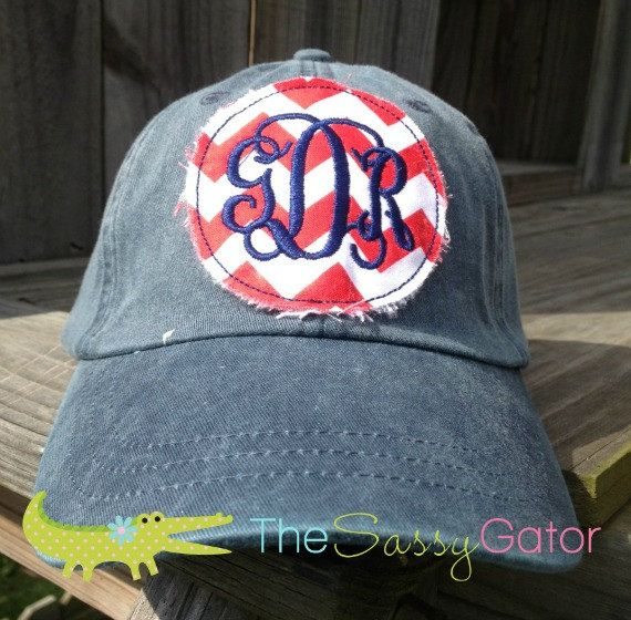 monogrammed baseball hat cap preppy circle patch applique ladies bridesmaids bridal party caps cheap monogram
