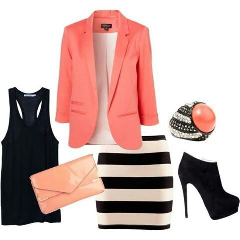 Coral and black outfit. Coral jacket, ring and clutch. Black and off white stripe skirt
