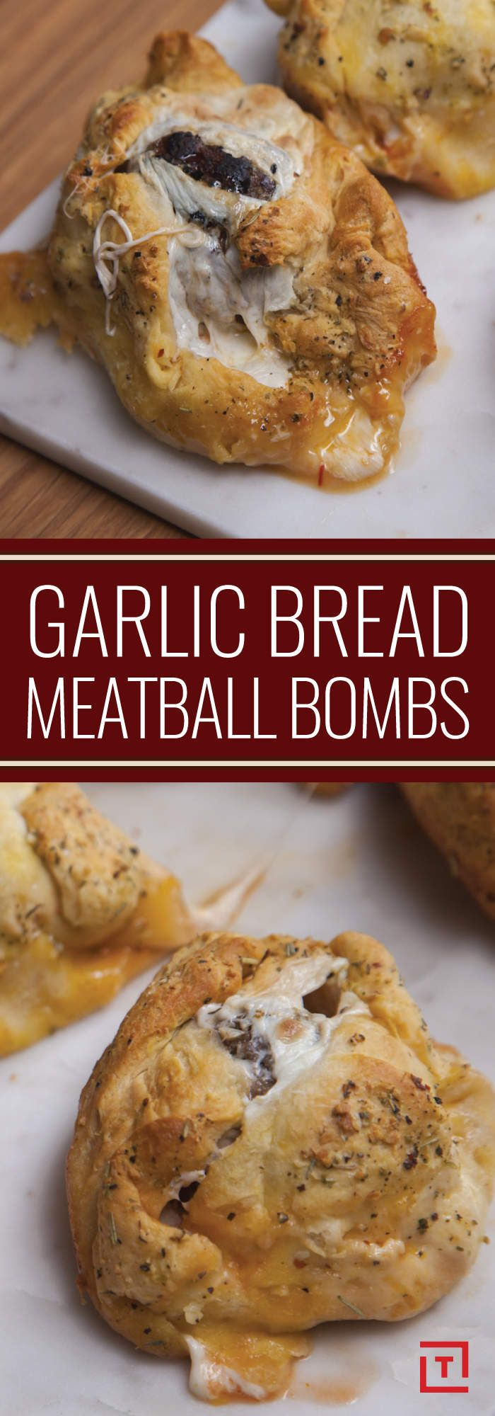 Pay attention, garlic lovers: This one's for you. While a fresh-baked garlic knot might satiate your cravings for the pungent allium, one cannot subsist on carbs alone -- which is why we're kind of obsessed with Food Steez's garlic bread meatball bombs. They're just as flavorful, help you get your protein quota for the day, AND they're easy to make right in your own kitchen. What's not to love?