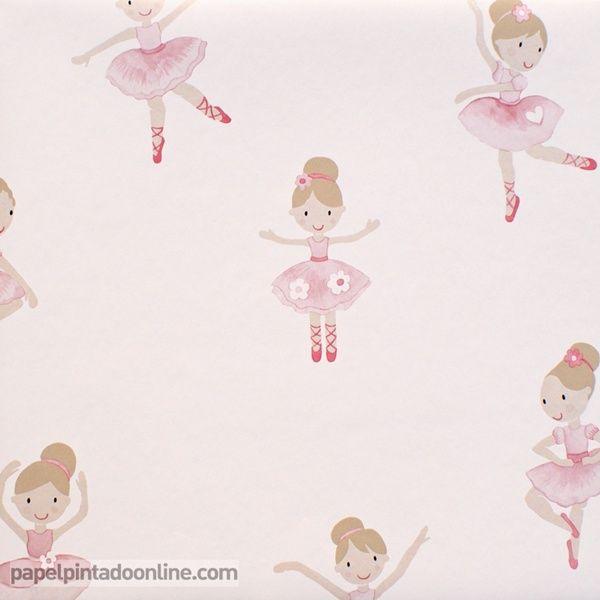 Papel pintado infantil lilleby 2677 con dibujos de una for Papel pintado infantil