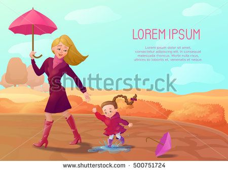 Autumn background with smiling mother and daughter walking at th