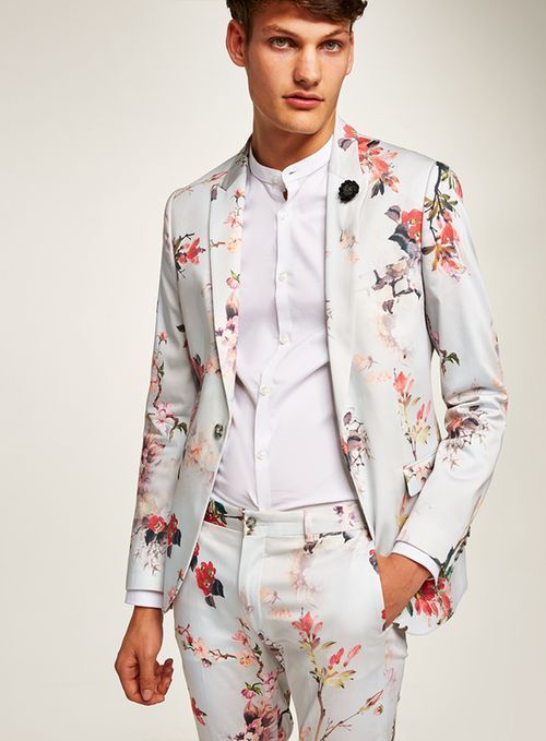 c2aa64b7ee2 White Floral Ultra Skinny Suit  Menssuits