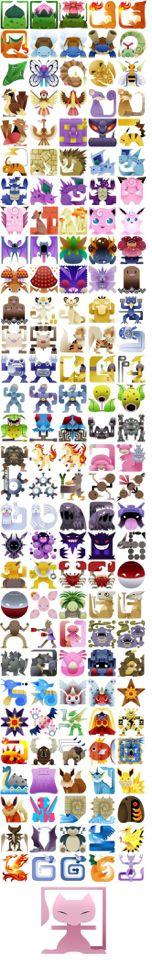 Coolest Square Pokemon Artwork! First 150! #pokemon