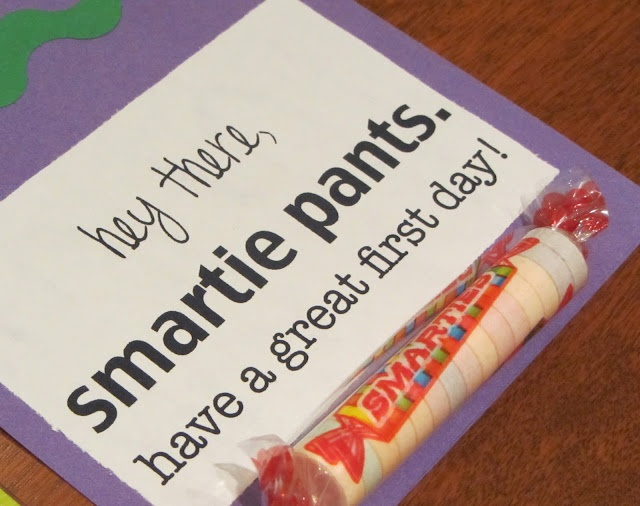 Cute first day of school idea (though I'd use the chocolate Smarties you can buy in little boxes).