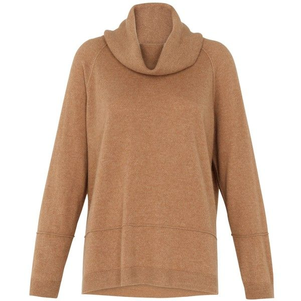 Whistles Cashmere Cowl Neck Jumper, Camel ($185) ❤ liked on Polyvore featuring tops, sweaters, camel, camel cashmere sweater, over sized sweaters, camel cowl neck sweater, long sleeve sweaters and cowl neck tops