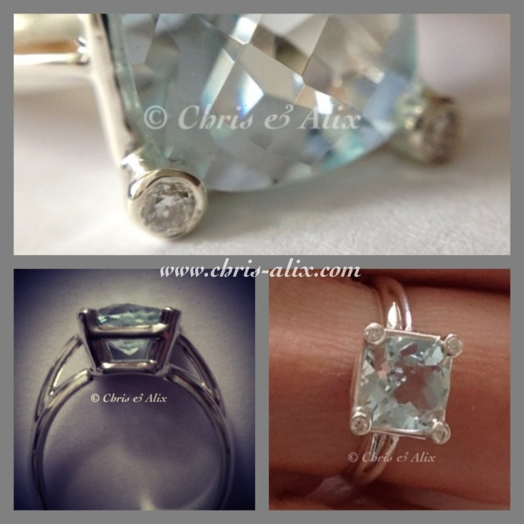 Aquamarine ring with diamonds in the prongs - beautiful detail. Switch up the stone or the metal, create your own starting at $350