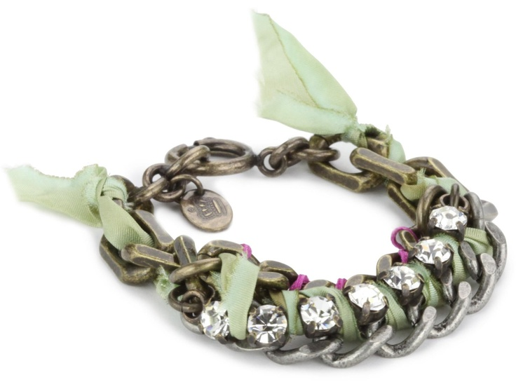 Juicy Couture War Of Love Green Ribbon & Chain Bracelet