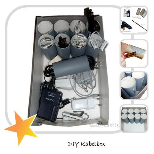 DIY Kabelbox / Cablebox very Easy Tutorial with Toilet Paper Rolls in my Blog.