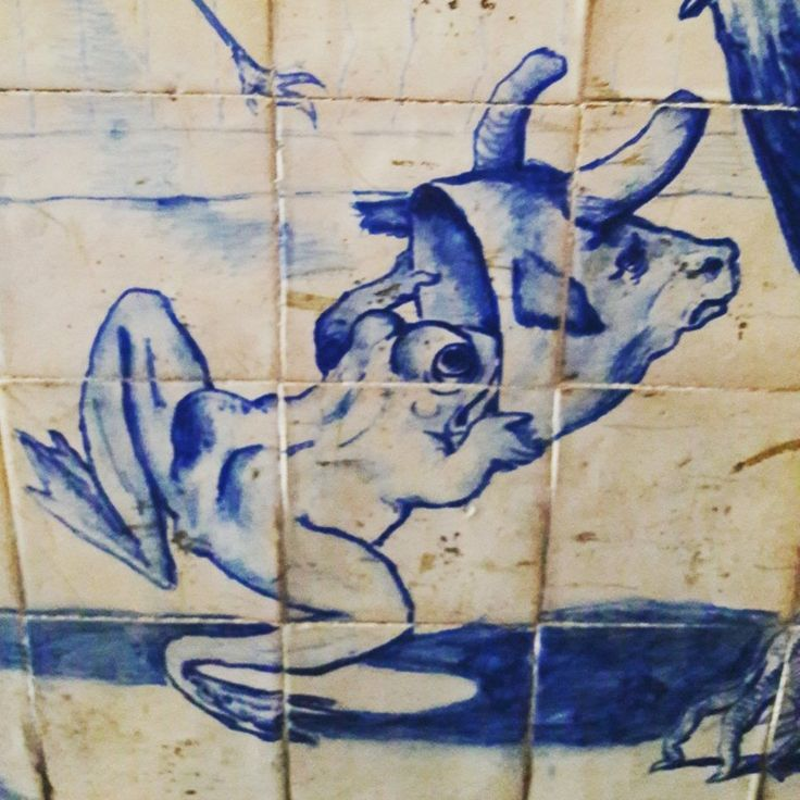 The Frog that thinks he's a Bull. Discovering an amazing glazed tiles collection (1897). ♡ #frog #bull #frogbull #bordalopinheiro #azulejos #glazedtiles #collection #heritage #hiddengems #art #ceramics #lisbon #lisbontailoredtours #lisbonwithpats