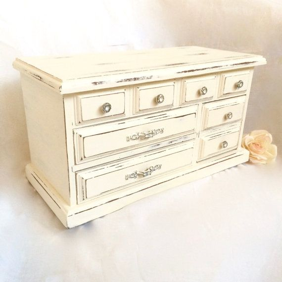 Large White Jewelry Box Distressed Shabby by EllasAtticVintage