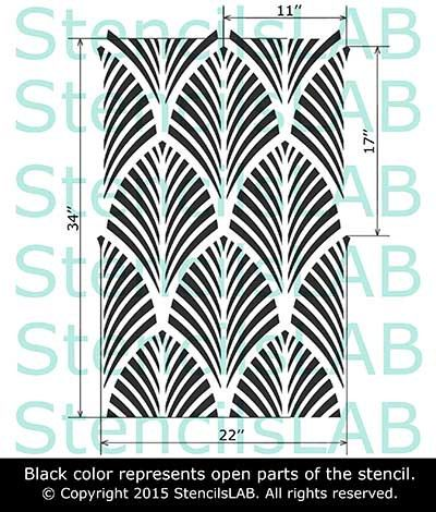 Decorative seamless wall stencil Large stencil Reusable