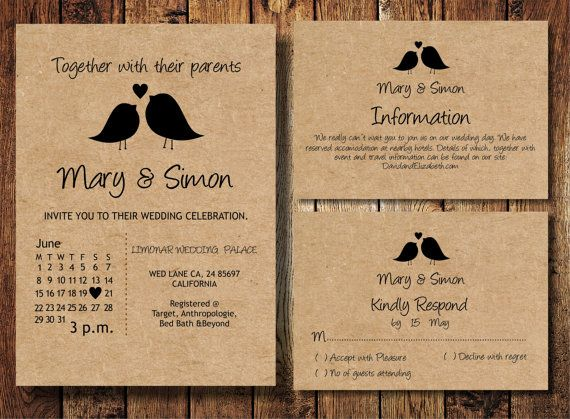Casual Wedding Invitation Suite With Birds Kraft By BSNPartyArt