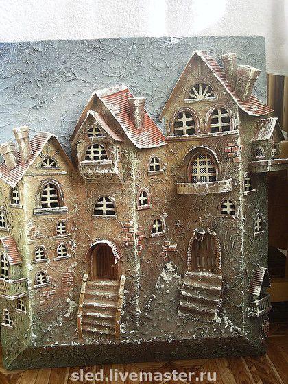 """Город ручной работы. Ярмарка Мастеров - ручная работа """"Первый снег"""" объемное панно. Handmade."""