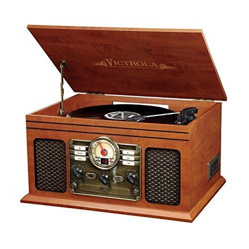 Record Player With Speakers 6 in 1 Bluetooth Radio Classic Mahogany Cassette CD #InnovativeTechnology