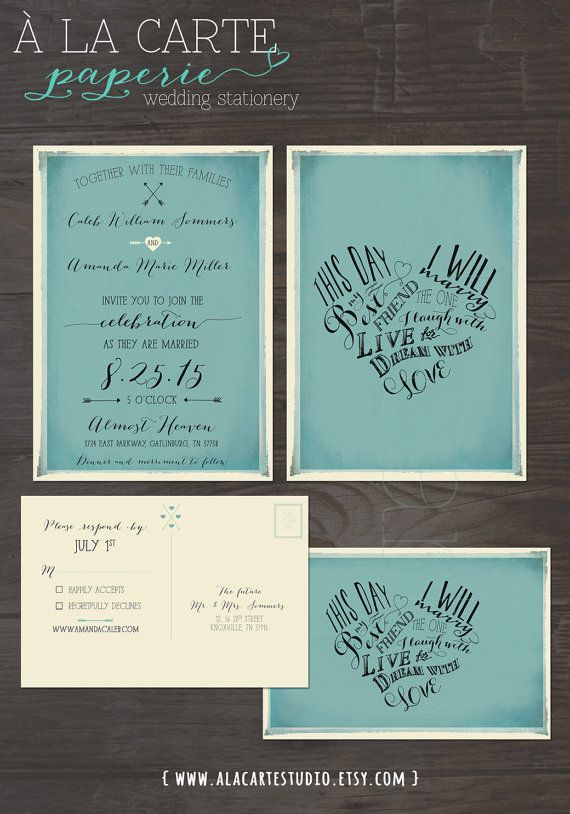This day I will marry my best friend -Vintage Blue Wedding Invitation Card and RSVP postcard
