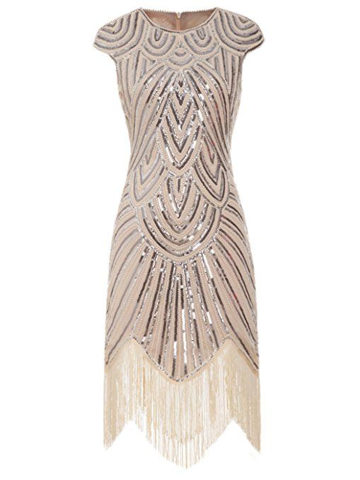 FAIRY COUPLE 1920s Sequined Embellished Tassels Hem Flapper Dress  D20S002(S 6529f54fc