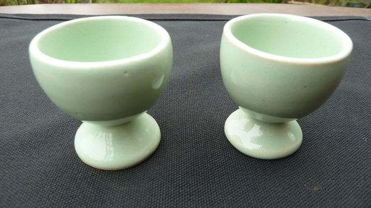 RUSTIC FARMHOUSE STYLE EGG CUPS IN MINT GREEN - VINTAGE EASTER GIFT -1950's