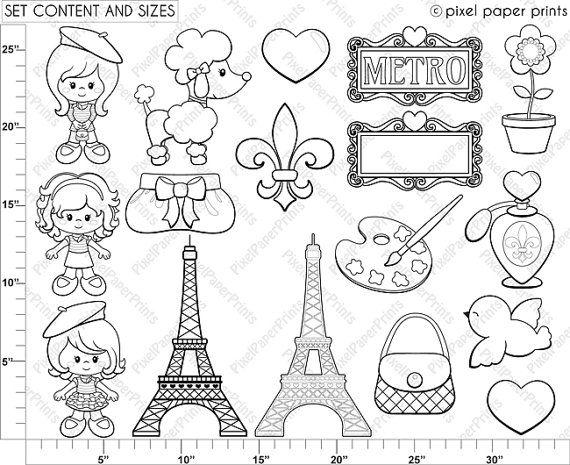 Parisian Girls – Digital stamps – Paris clipart – Line art – Brit Hesse