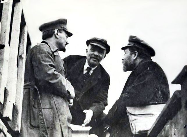 Trotsky, Lenin, and Kamenev (from left to right), May 5, 1920, Moscow, Sverdlov Place.