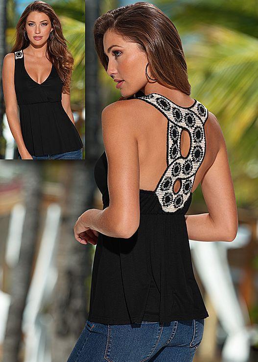 BLACK & WHITE Crochet back detail top from VENUS