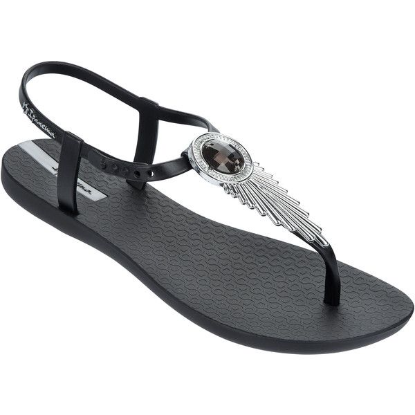 Ipanema Flip-flops - Athena - Black/silver (235 HRK) ❤ liked on Polyvore featuring shoes, sandals, flip flops, black, silver shoes, silver sandals, flip flop shoes, black flip flops and ipanema shoes