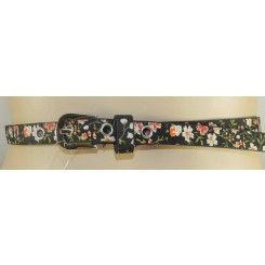 Impulse narrow black belt printed with ditsy pink flowers